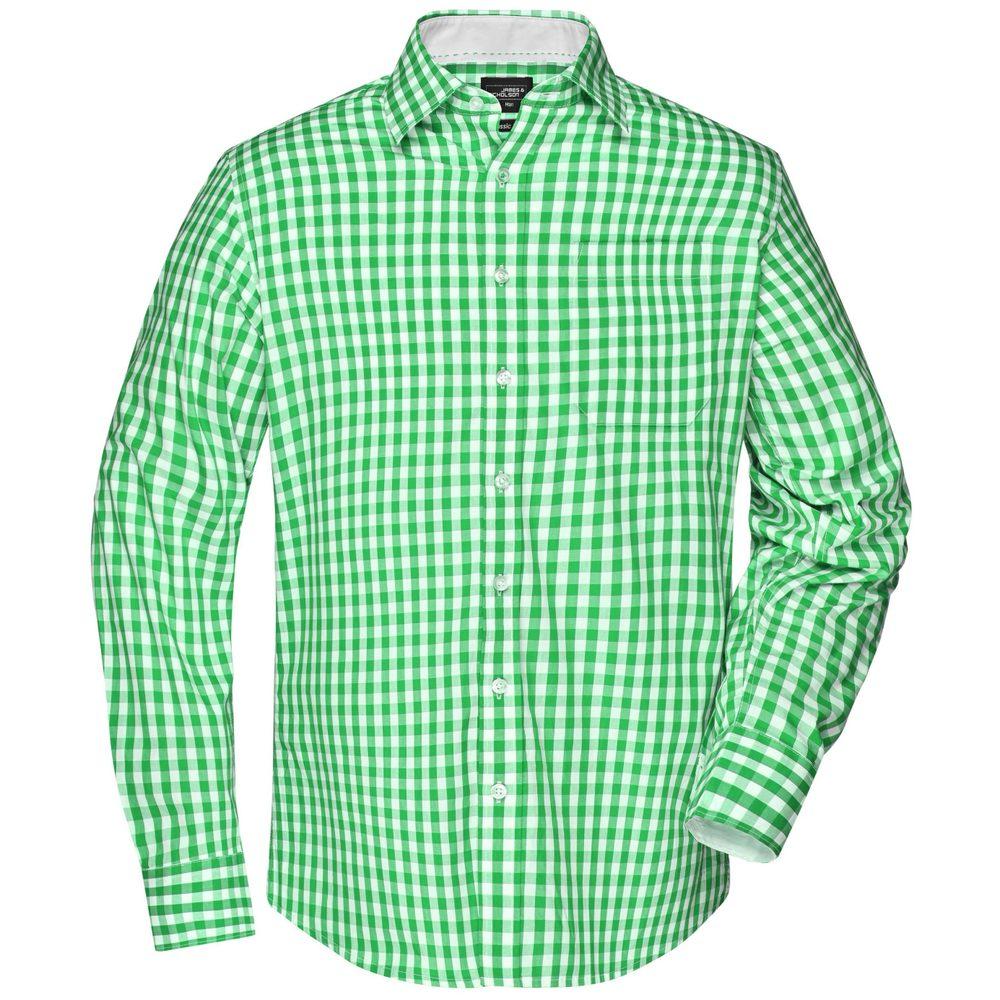 James & Nicholson Pánská kostkovaná košile JN617 - Zelená / bílá   L