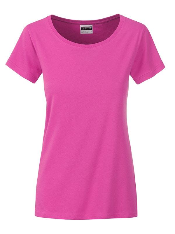 James & Nicholson Klasické dámske tričko z biobavlny 8007 - Růžová | XL