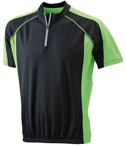 James & Nicholson Pánské cyklistické tričko JN420 - Černá / limetková | L