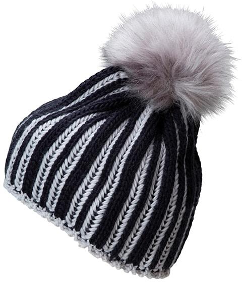 Myrtle Beach Pletená dámska zimná čiapka MB7107 - Tmavě modrá / stříbrná