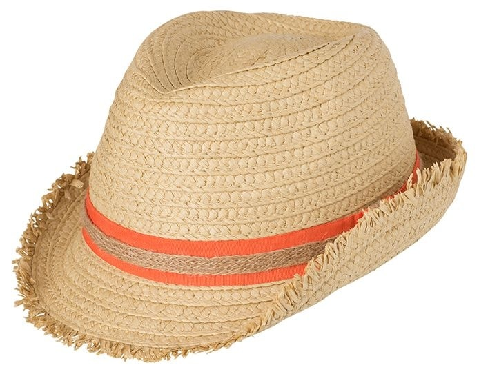 Myrtle Beach Letní slaměný klobouk MB6703 - Slámová / oranžová | S/M
