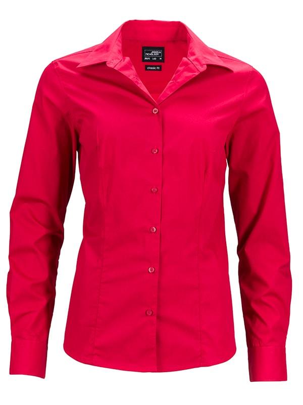 James & Nicholson Dámska košeľa s dlhým rukávom JN641 - Červená | S