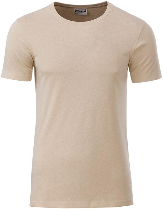 James & Nicholson Klasické pánske tričko z biobavlny 8008 - Stone | XXL