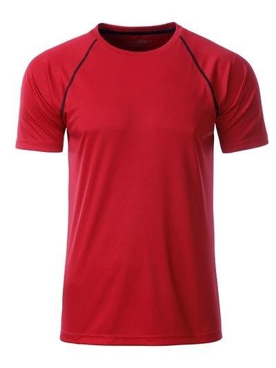 James & Nicholson Pánske funkčné tričko JN496 - Červená / černá | XXL