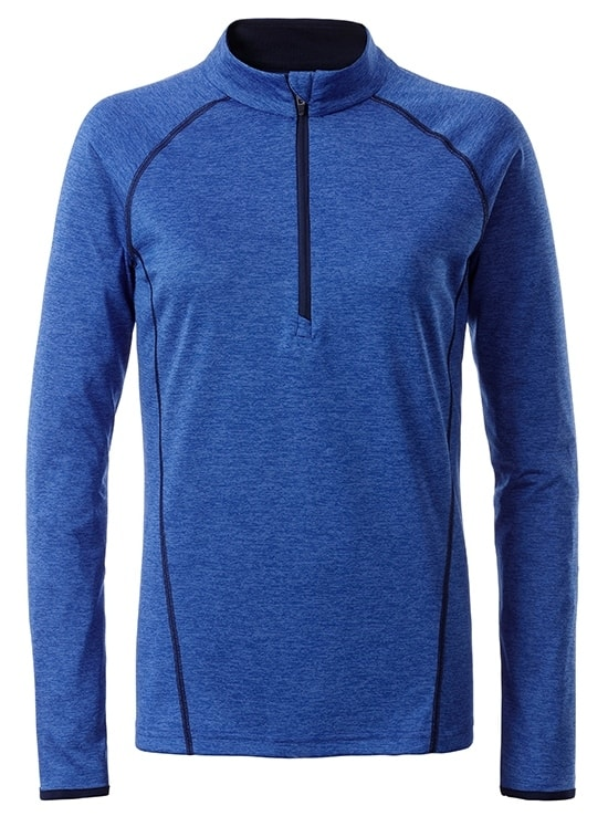 James & Nicholson Dámske funkčné tričko s dlhým rukávom JN497 - Modrý melír / tmavě modrá | XL