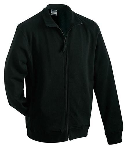 James & Nicholson Pánska mikina na zips bez kapucne JN058 - Černá | XXXL