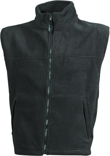 James & Nicholson Pánska fleecová vesta JN045 - Tmavě šedá   XXL