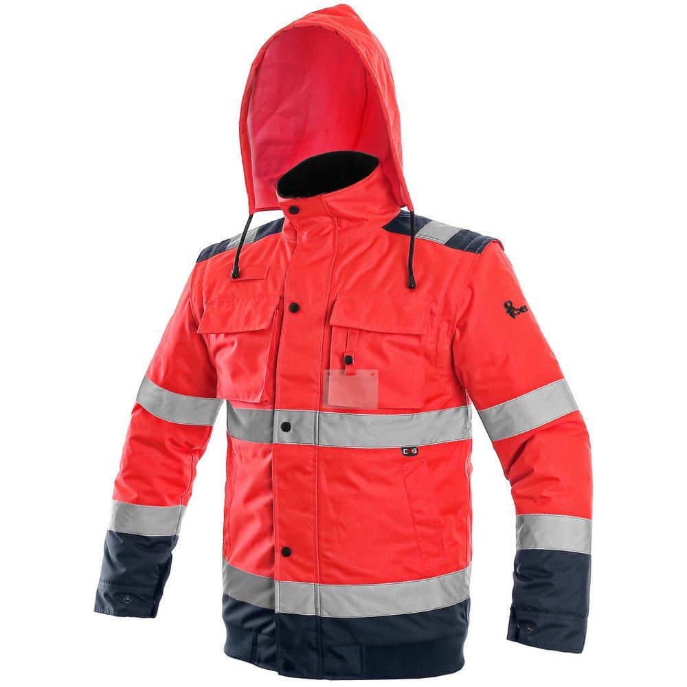 Canis Reflexná bunda 2v1 LUTON - Červená / tmavě modrá | XXXL