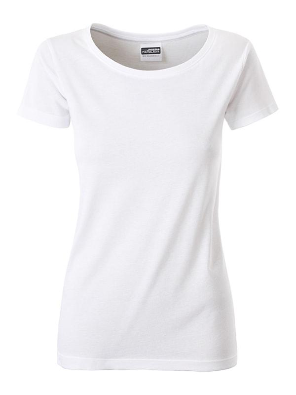 James & Nicholson Klasické dámske tričko z biobavlny 8007 - Bílá | XL