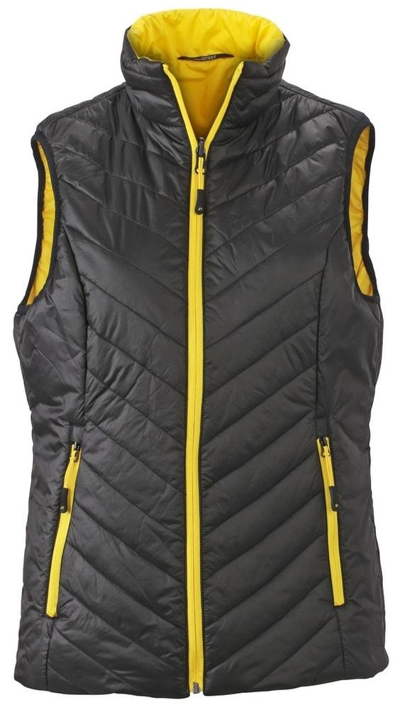 James & Nicholson Ľahká dámska obojstranná vesta JN1089 - Černá / žlutá | XL