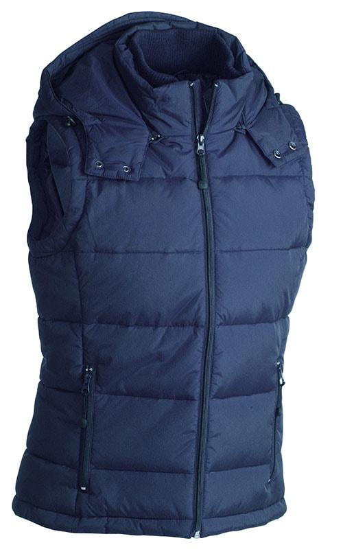 James & Nicholson Pánska zimná vesta s kapucňou JN1004 - Tmavě modrá | M