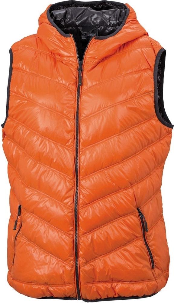 James & Nicholson Ľahká dámska páperová vesta JN1061 - Tmavě oranžová / tmavě šedá   XXL