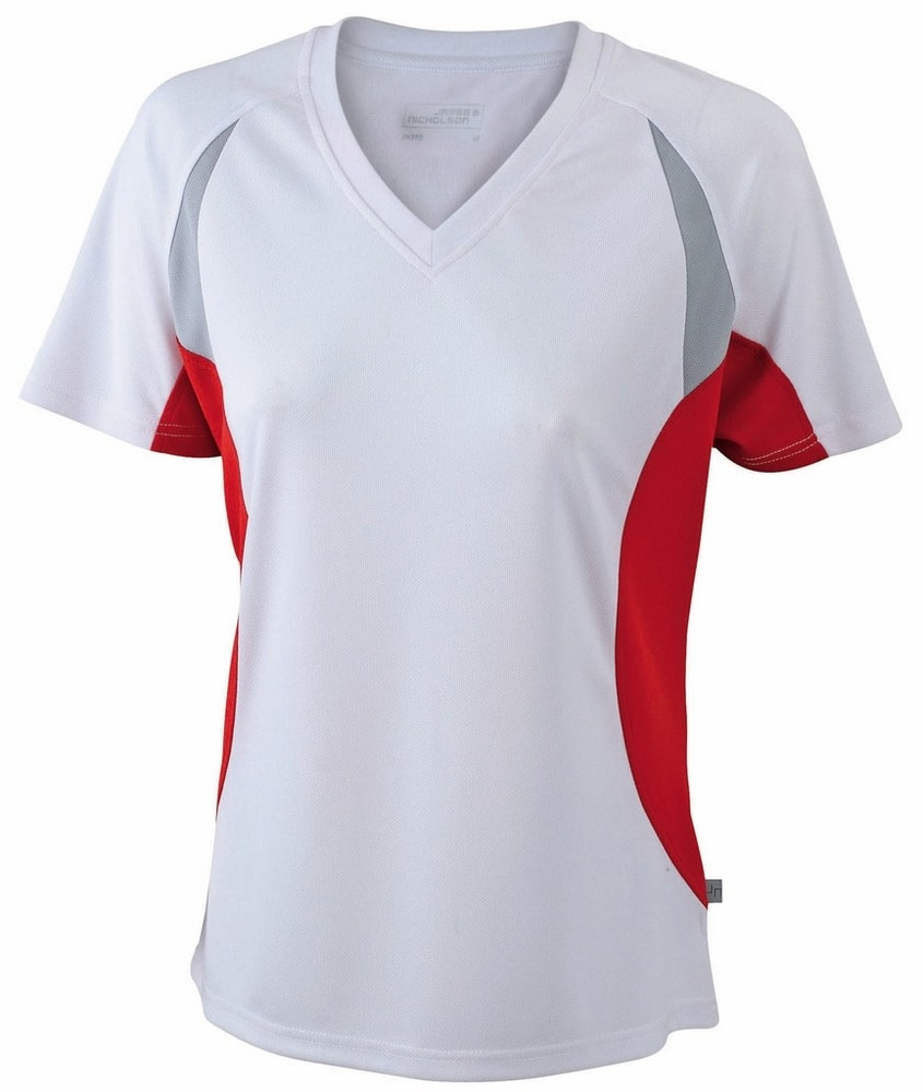 James & Nicholson Dámske funkčné tričko s krátkym rukávom JN390 - Bílá / červená   XXL