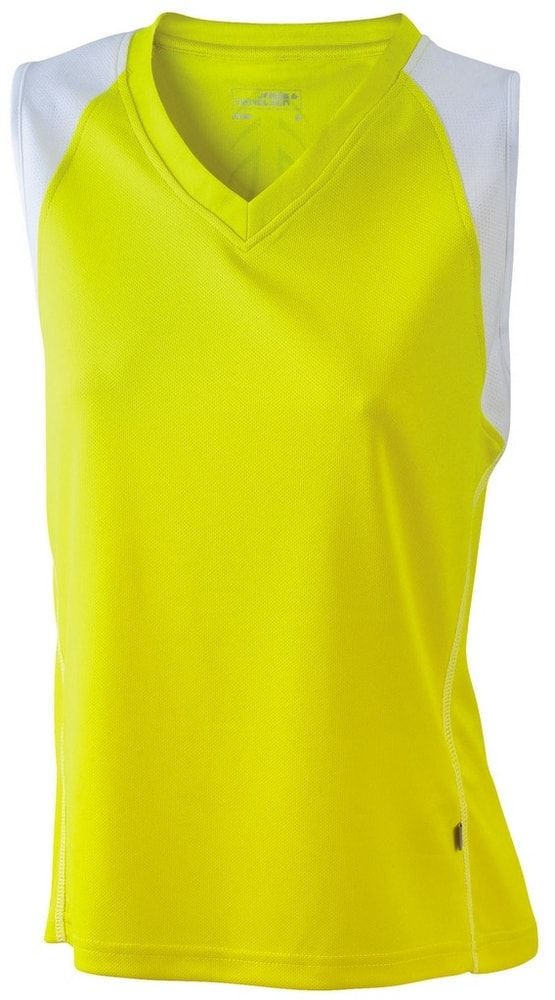 James & Nicholson Dámske bežecké tričko bez rukávov JN394 - Žlutá / bílá | XXL