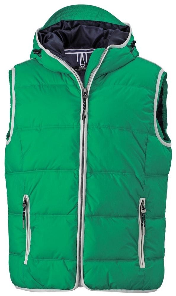 James & Nicholson Pánska vesta s kapucňou JN1076 - Irská zelená / bílá | XXXL
