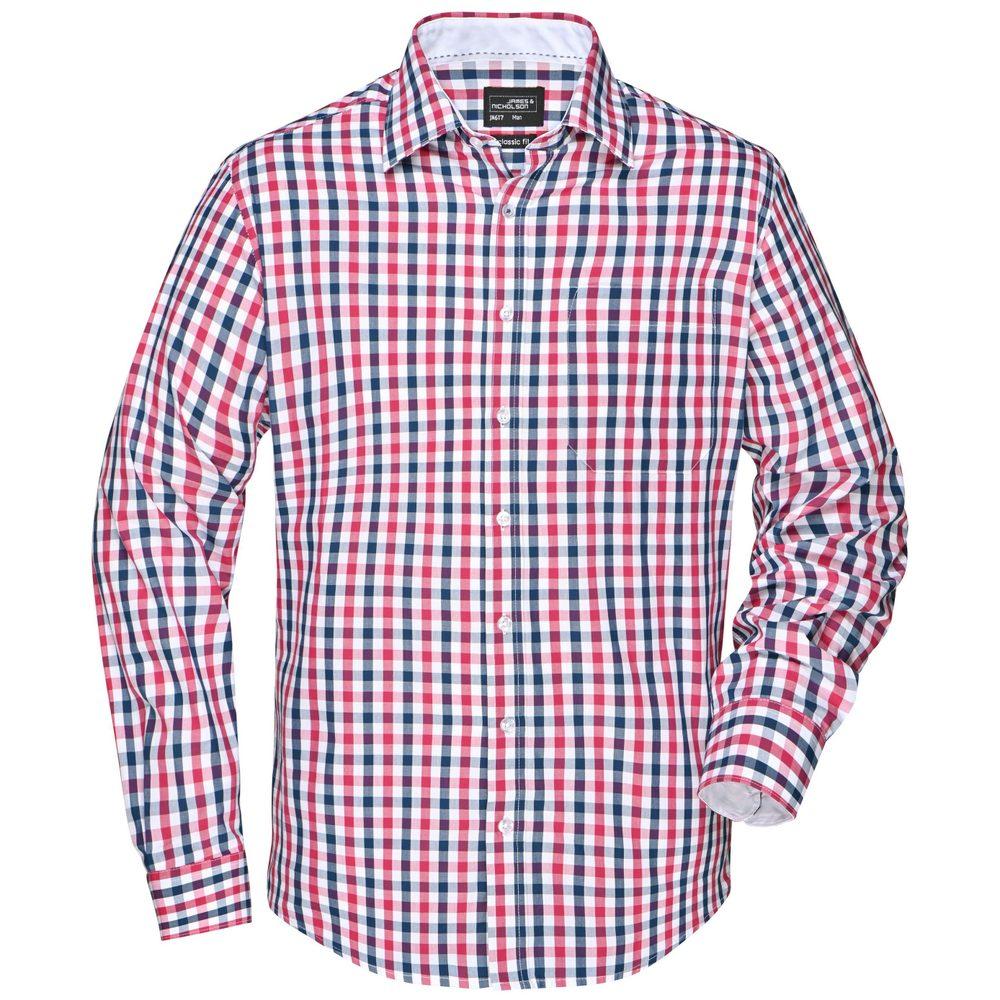 James & Nicholson Pánská kostkovaná košile JN617 - Tmavě modrá / červená / tmavě modrá / bílá | XXXL
