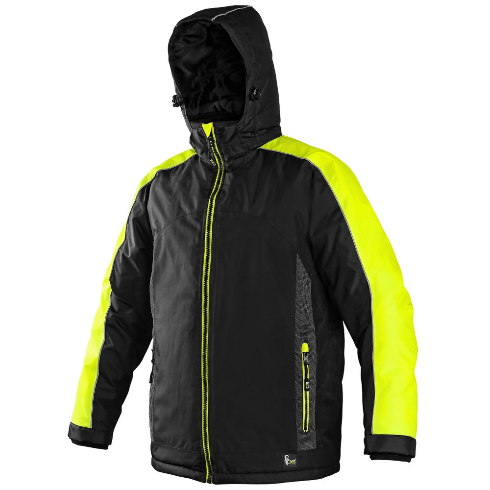 Canis Pánska zimná bunda BRIGHTON - Černá / žlutá | XXXL