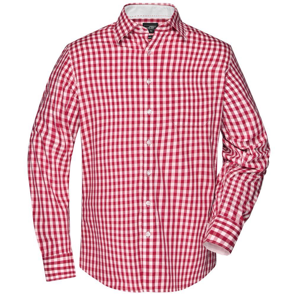 James & Nicholson Pánská kostkovaná košile JN617 - Červená / bílá   L