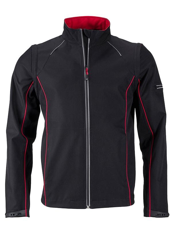 James & Nicholson Pánska softshellová bunda 2v1 JN1122 - Černá / červená   XXXL