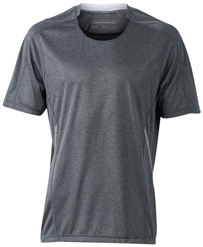James & Nicholson Pánske bežecké tričko JN472 - Černý melír / bílá | XL