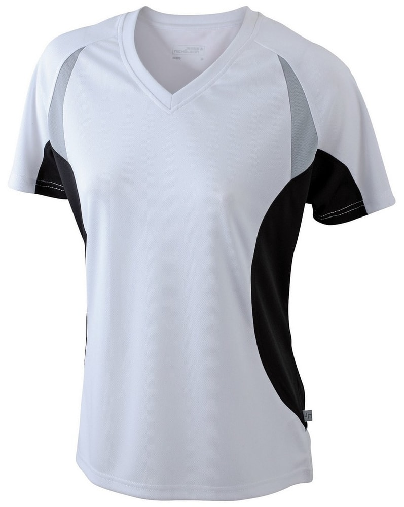 James & Nicholson Dámske funkčné tričko s krátkym rukávom JN390 - Bílá / černá   XL