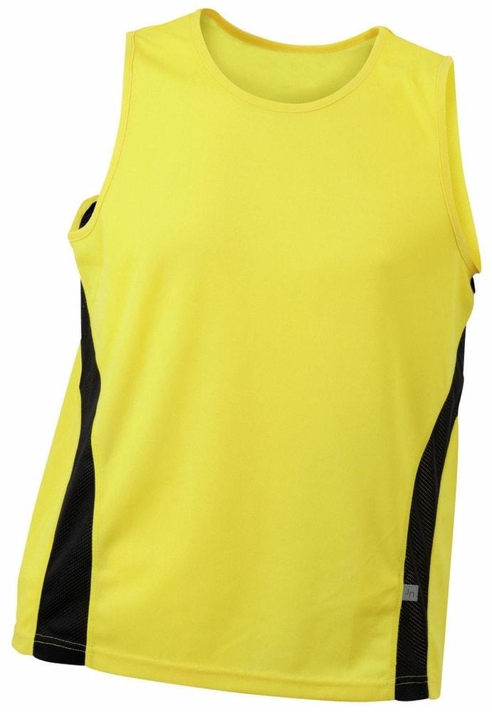 James & Nicholson Pánske športové tričko bez rukávov JN305 - Žlutá / černá | XXL