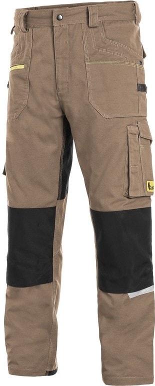 Canis Montérkové nohavice do pása CXS STRETCH - Béžová / černá   48