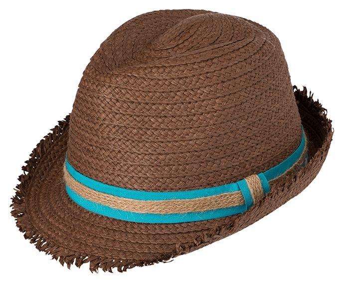 Myrtle Beach Letní slaměný klobouk MB6703 - Nugátová / tyrkysová | L/XL