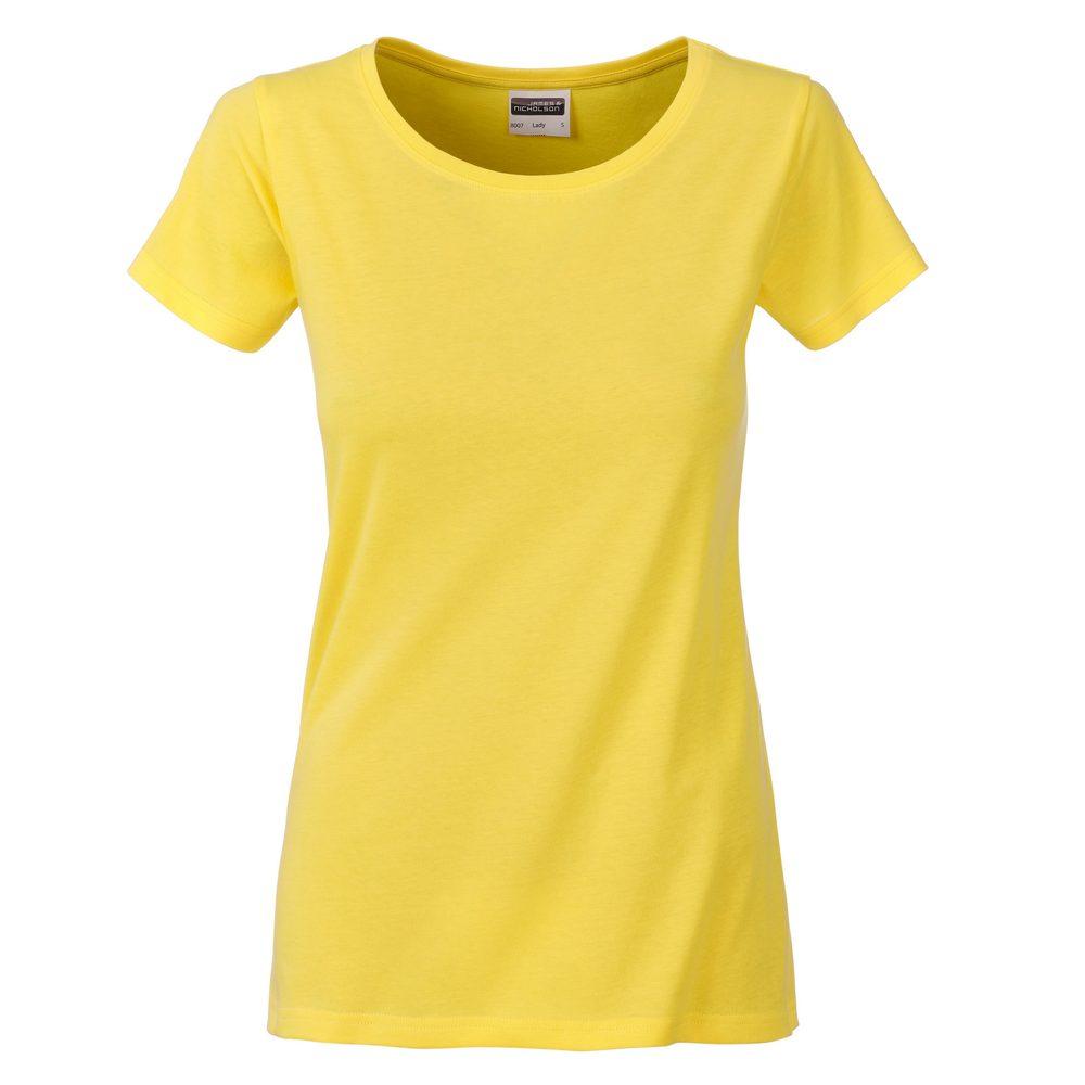 James & Nicholson Klasické dámske tričko z biobavlny 8007 - Žlutá | XL