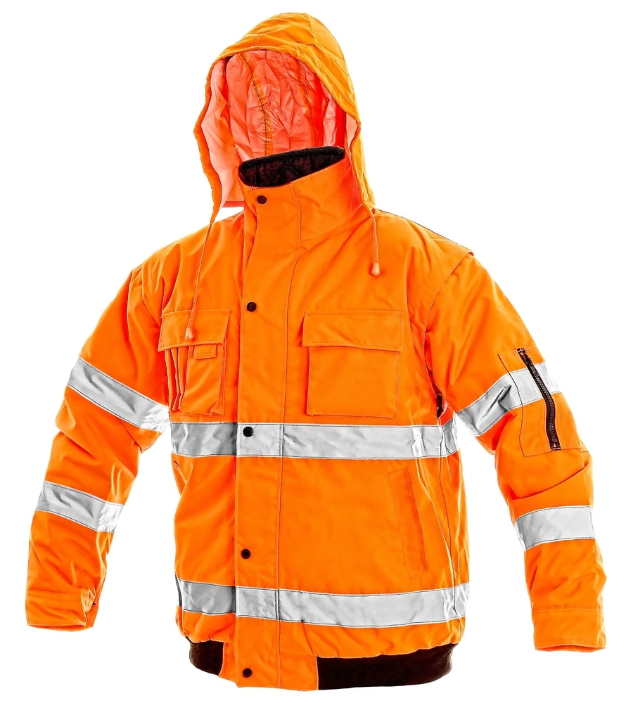 Canis Zimná reflexná bunda s odopínateľnými rukávmi LEEDS - Oranžová | S