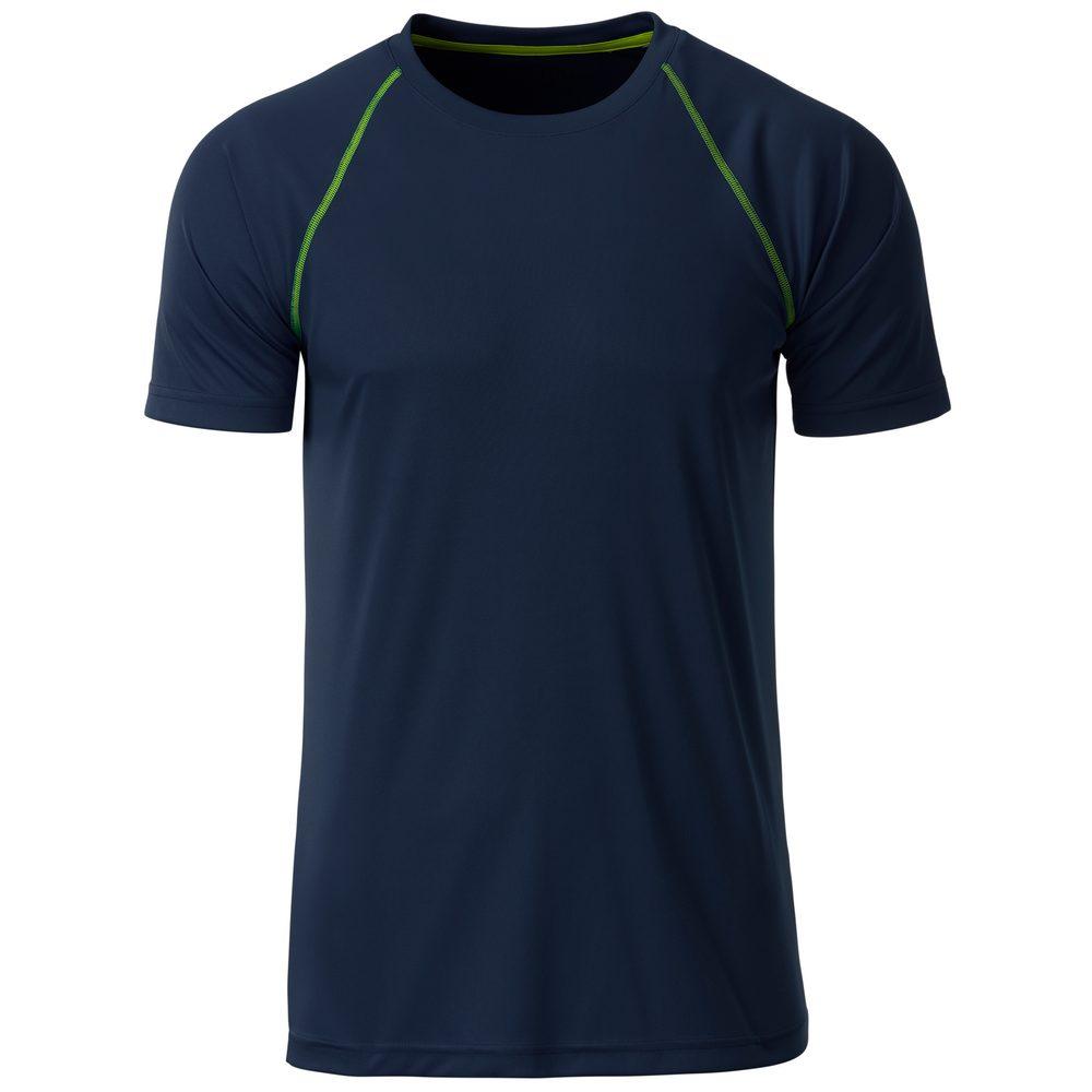 James & Nicholson Pánske funkčné tričko JN496 - Tmavě modrá / jasně žlutá | S