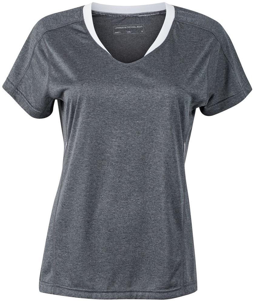 James & Nicholson Dámske bežecké tričko JN471 - Černý melír / bílá | M