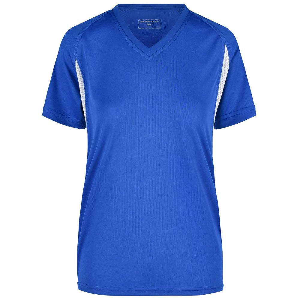 James & Nicholson Dámské sportovní tričko s krátkým rukávem JN316 - Královská modrá / bílá | XXL