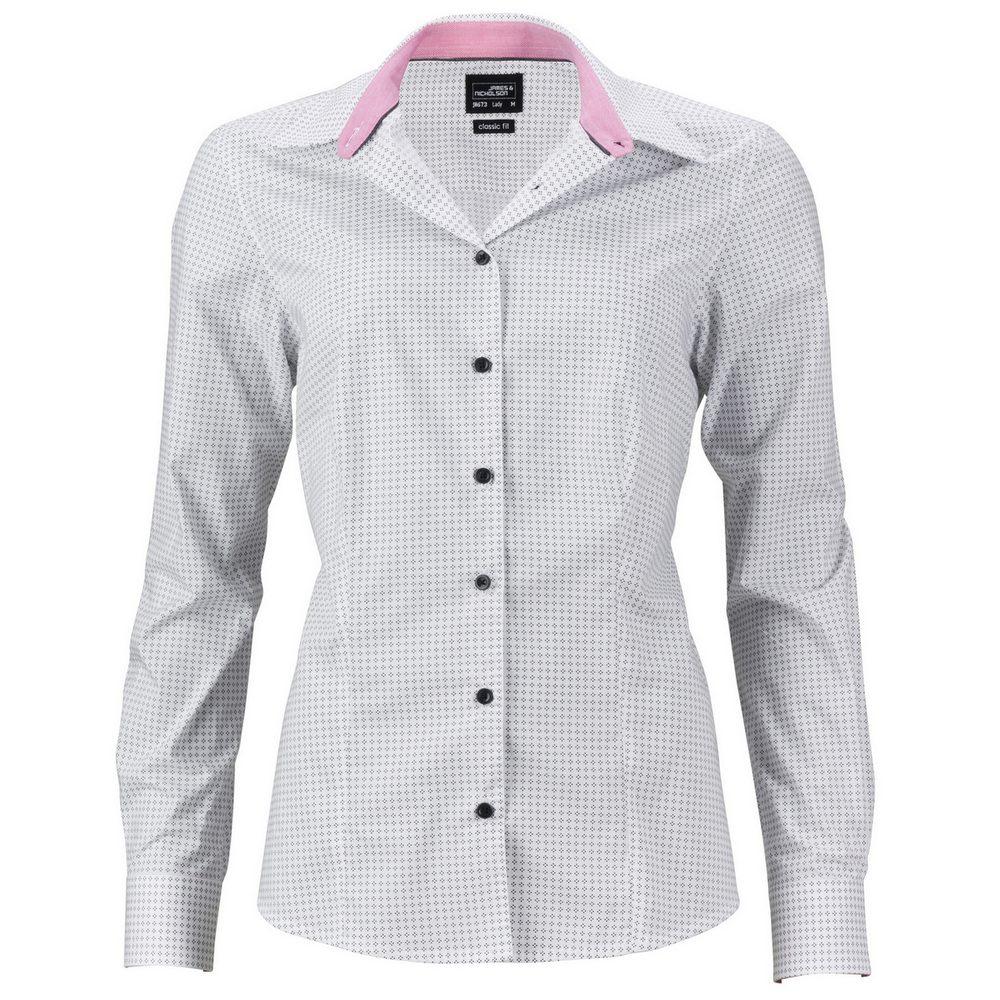 James & Nicholson Dámská luxusní košile Dots JN673 - Bílá / titanová | M