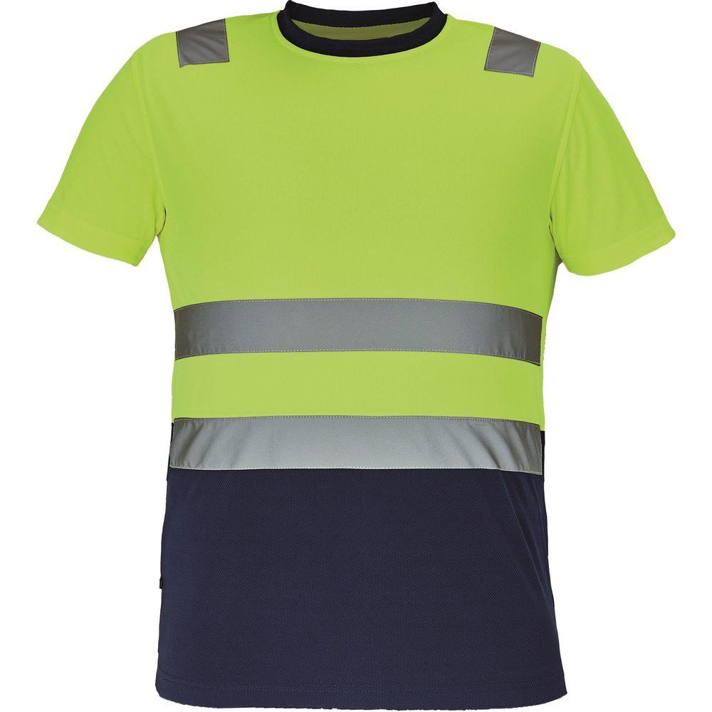Cerva Pánske reflexné tričko MONZON - Žlutá / tmavě modrá | XXXL
