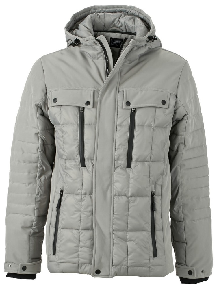 James & Nicholson Športová pánska zimná bunda JN1102 - Stříbrná / černá   XXXL