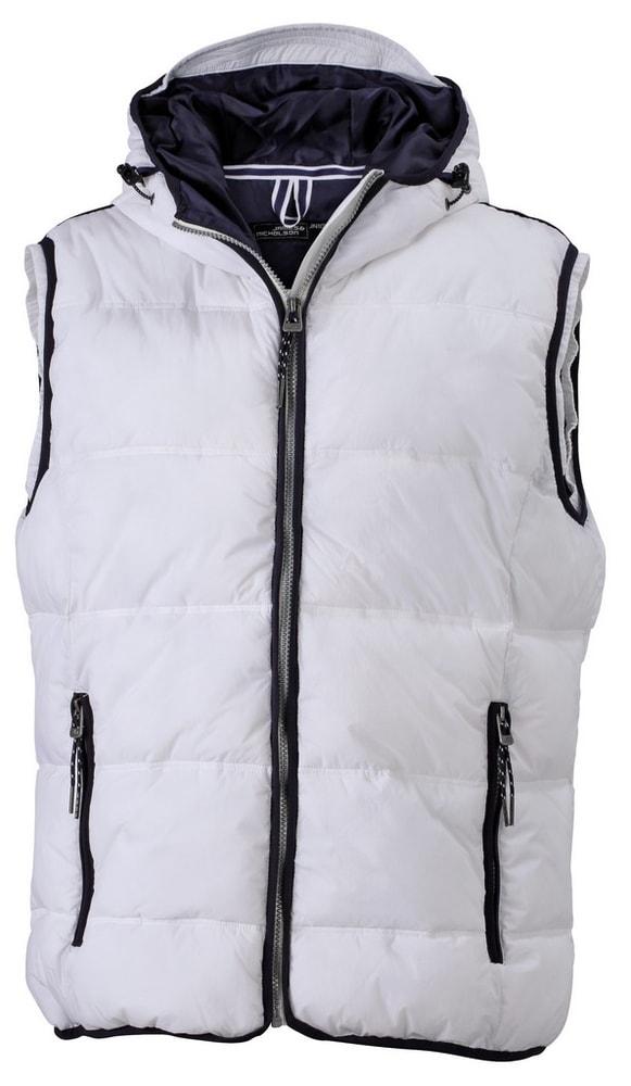 James & Nicholson Pánska vesta s kapucňou JN1076 - Bílá / tmavě modrá | XXXL