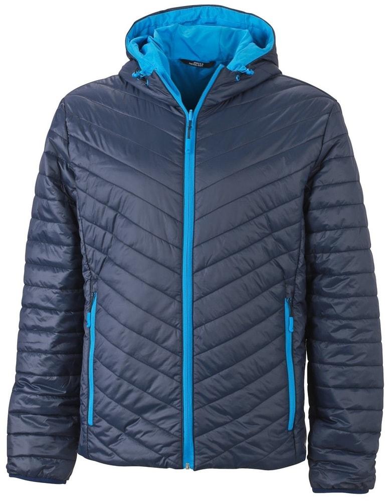 James & Nicholson Ľahká pánska obojstranná bunda JN1092 - Tmavě modrá / aqua   XXXL