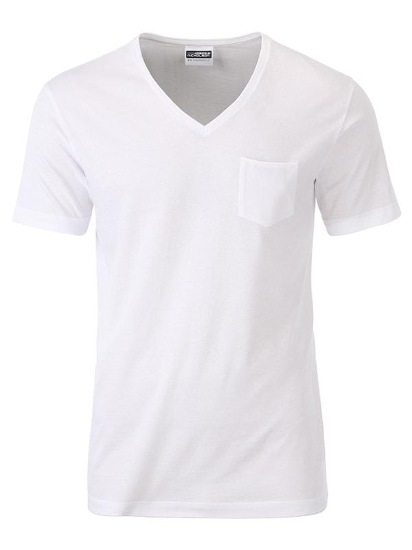 James & Nicholson Pánske tričko z biobavlny 8004 - Bílá | XL