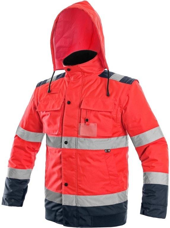 Canis Reflexná bunda 2v1 LUTON - Červená / tmavě modrá | XL