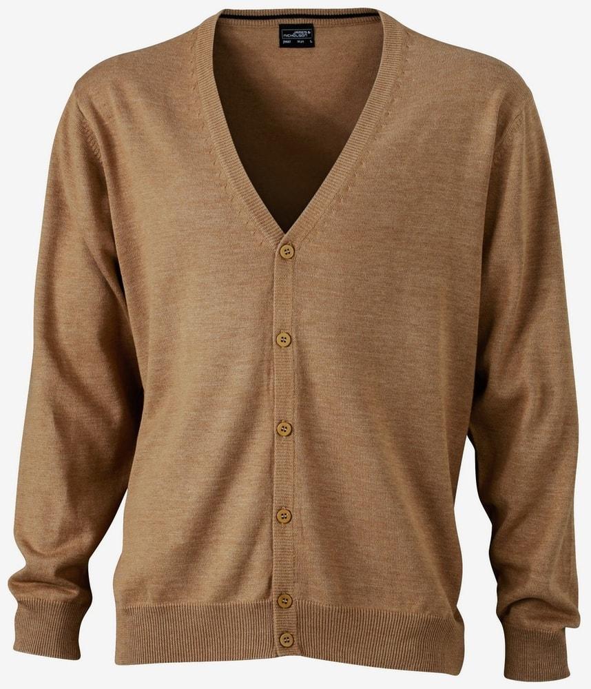James & Nicholson Pánský bavlněný svetr JN661 - Camel | M