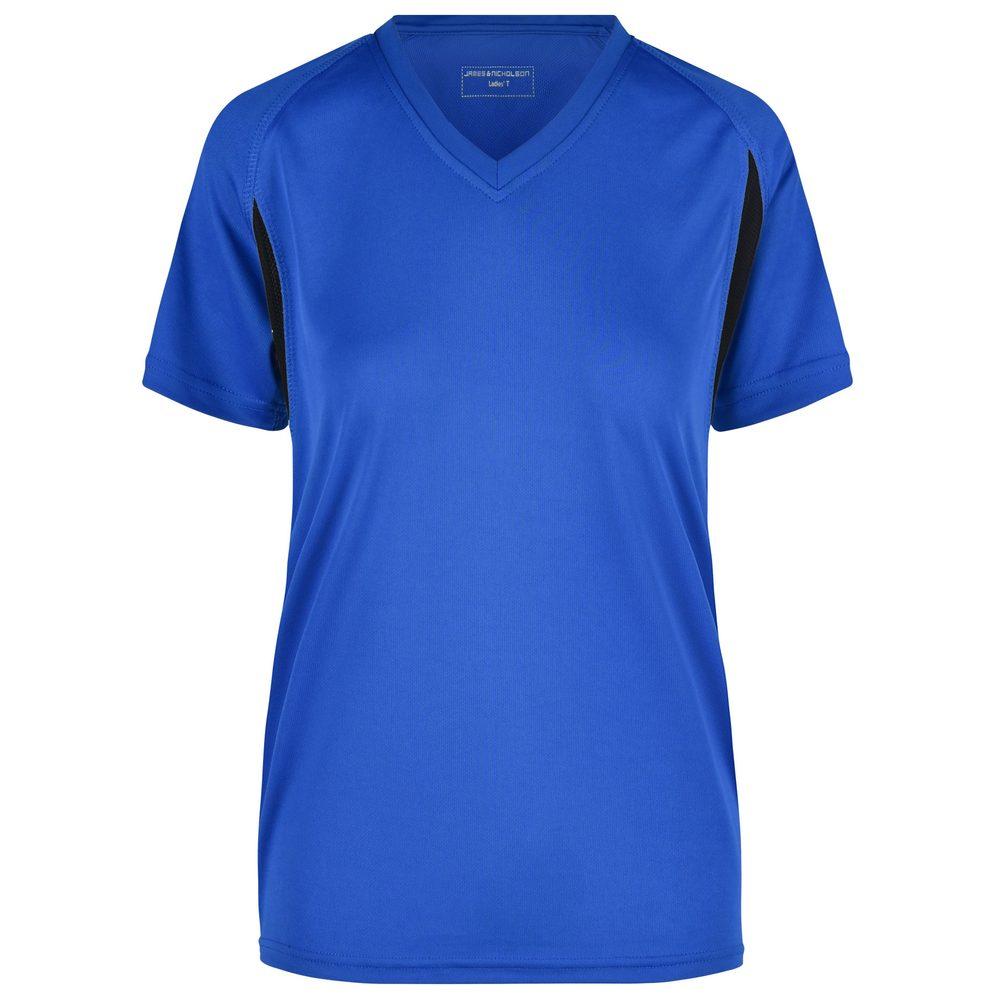 James & Nicholson Dámské sportovní tričko s krátkým rukávem JN316 - Královská modrá / černá | XXL