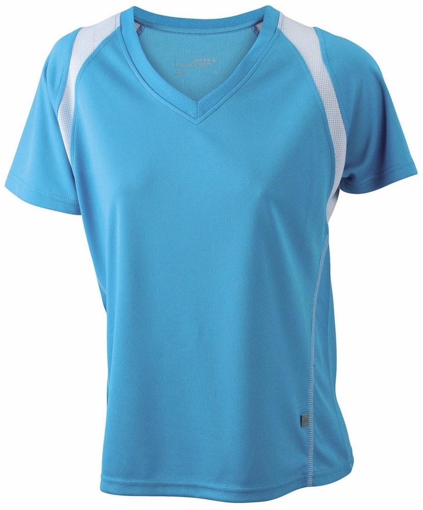 James & Nicholson Dámske bežecké tričko s krátkym rukávom JN396 - Tyrkysová / bílá   XXL