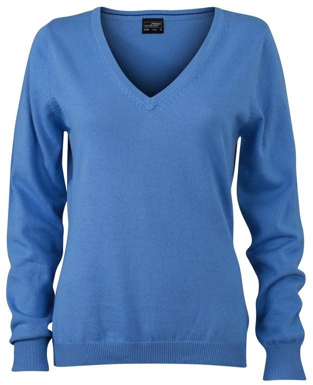 Dámský bavlněný svetr JN658 - Ledově modrá | L