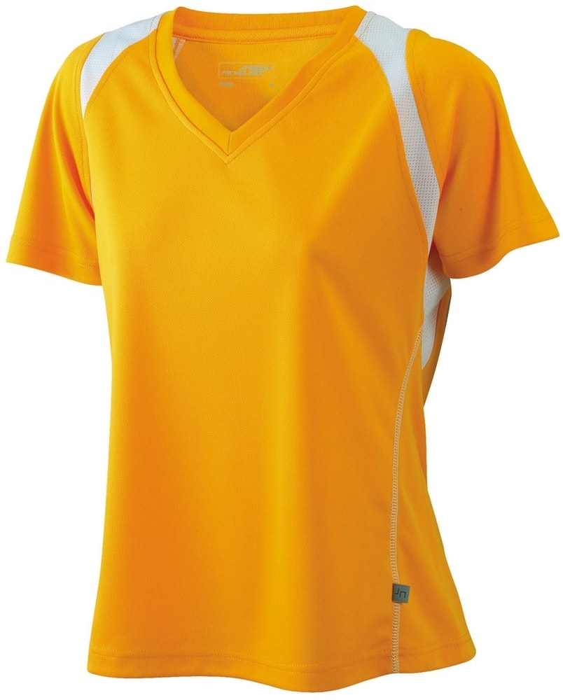 James & Nicholson Dámske bežecké tričko s krátkym rukávom JN396 - Oranžová / bílá | M