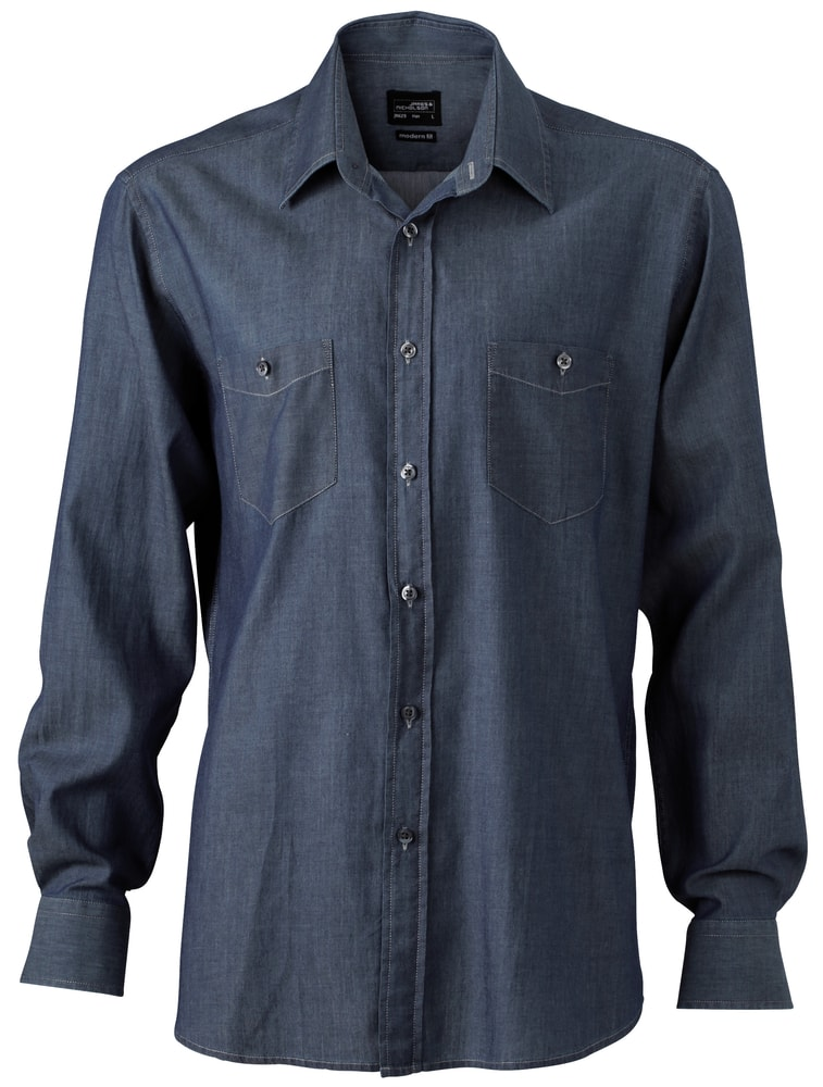 Pánská džínová košile JN629 - Tmavě džínová | L