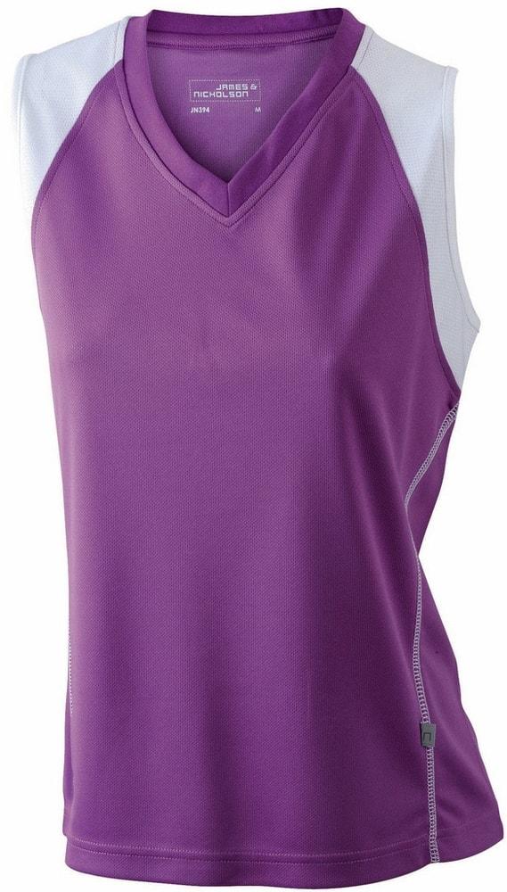 James & Nicholson Dámske bežecké tričko bez rukávov JN394 - Fialová / bílá | XXL