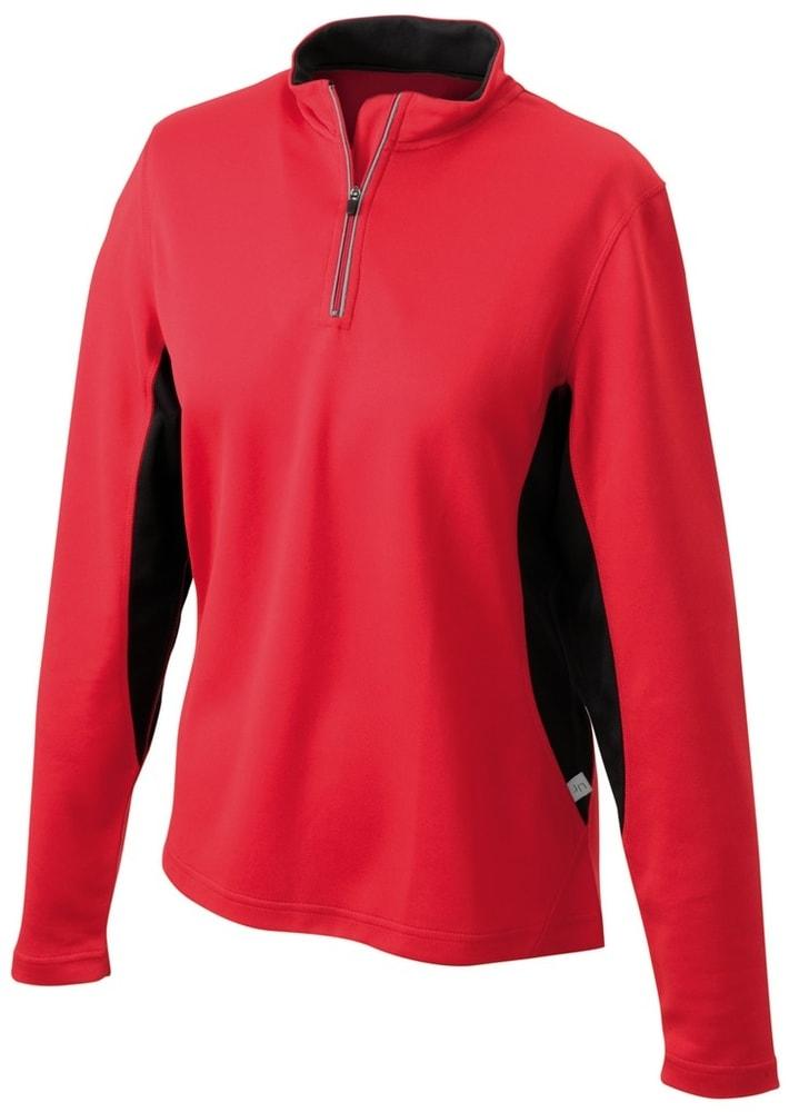 James & Nicholson Dámske športové tričko s dlhým rukávom JN317 - Červená / černá | L