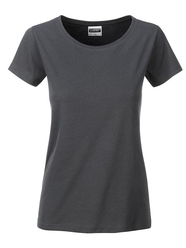 James & Nicholson Klasické dámske tričko z biobavlny 8007 - Grafitová | XL