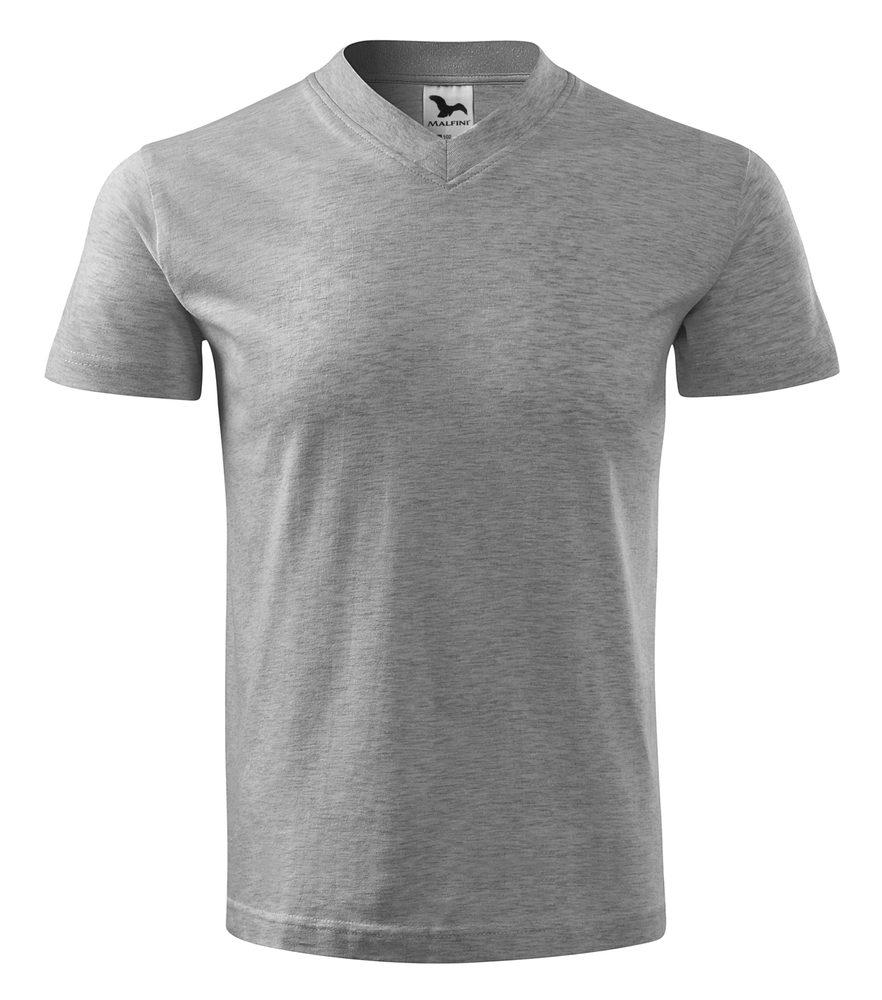 Adler Tričko V-neck - Tmavě šedý melír | S